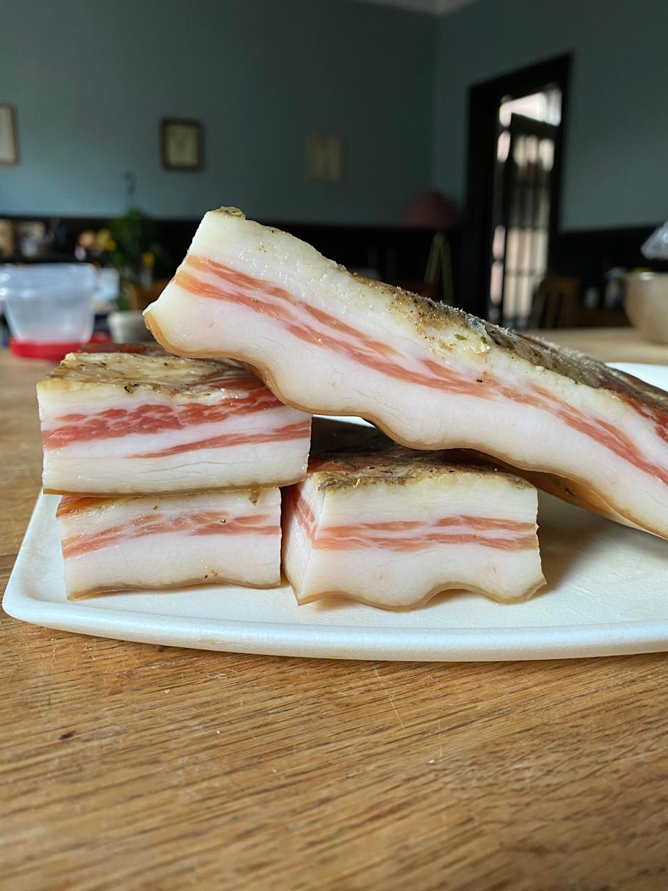I'm using little bits of La Quercia's pancetta all winter long to flavor soups, greens, and more