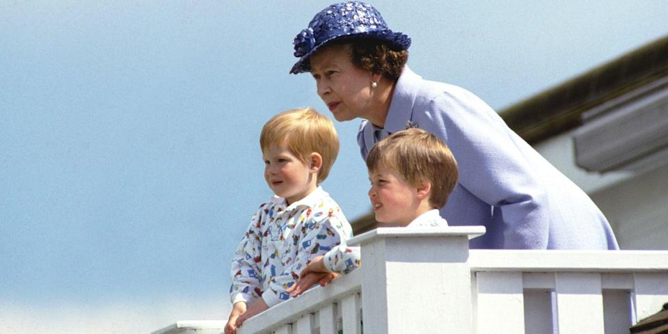 <p>Harry watches a polo match with Queen Elizabeth II and Prince William in the Royal Box at Guards Polo Club in Windsor. </p>