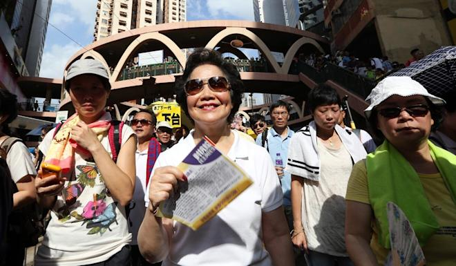Former Chief Secretary Anson Chan marches in 2015 at the annual July 1 rally marking the handover of Hong Kong from British to Chinese rule in Causeway Bay. Photo: Nora Tam