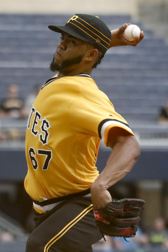 Pittsburgh Pirates starting pitcher Dario Agrazal throws against the Philadelphia Phillies during the first inning of a baseball game, Sunday, July 21, 2019, in Pittsburgh. (AP Photo/Keith Srakocic)