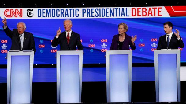 PHOTO: Democratic presidential hopefuls speak during the fourth Democratic primary debate at Otterbein University in Westerville, Ohio, Oct. 15, 2019. (John Minchillo/AP)