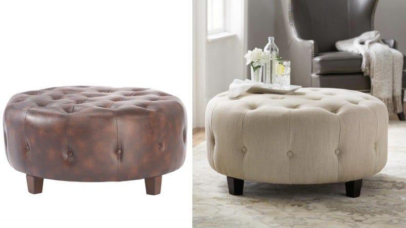 The Farrow ottoman is available in leather or linen.