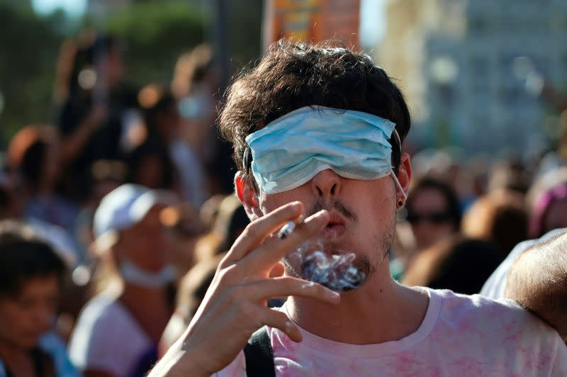 FILE PHOTO: Protest against the use of protective masks during the coronavirus disease (COVID-19) pandemic, in Madrid