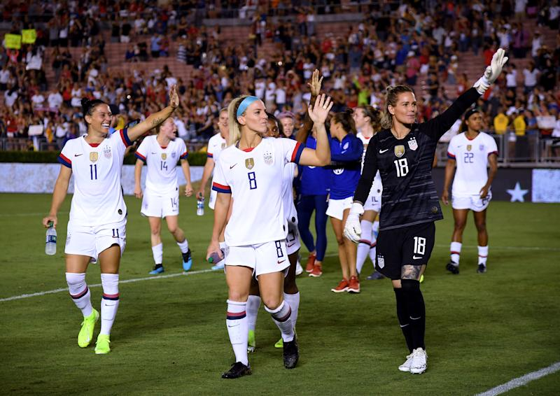 USWNT stars like Ali Krieger (11), Julie Ertz (8) and Ashlyn Harris have likely lost money because of the jersey production and distribution system in place. (Getty)