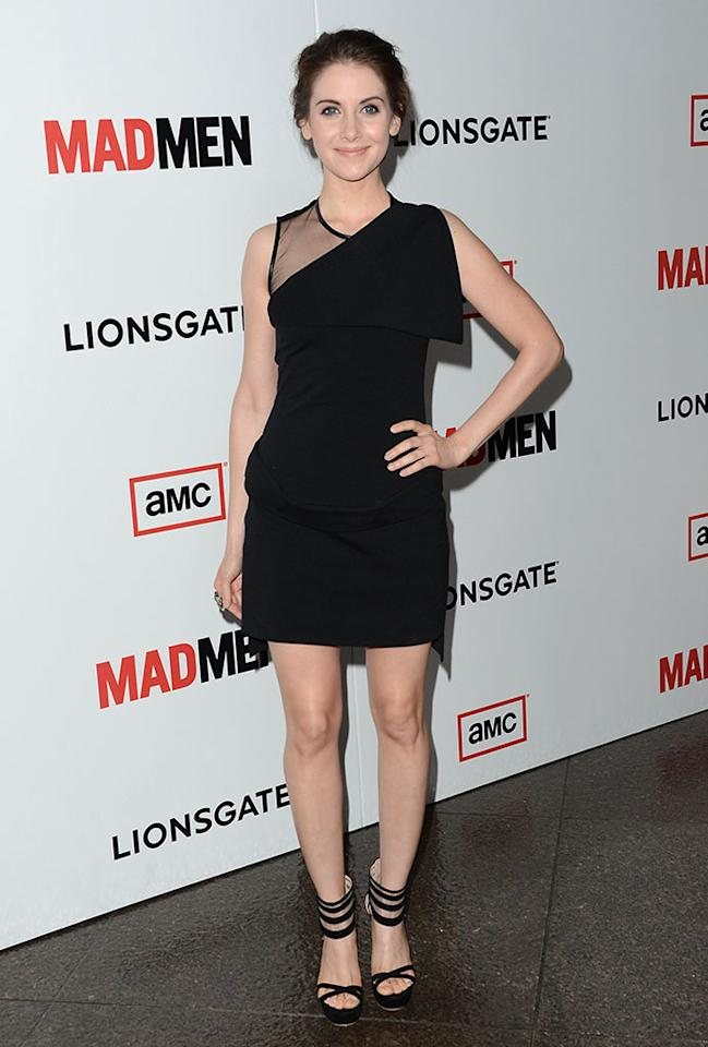 "Alison Brie arrives at the Premiere of AMC's ""Mad Men"" Season 6 at DGA Theater on March 20, 2013 in Los Angeles, California."
