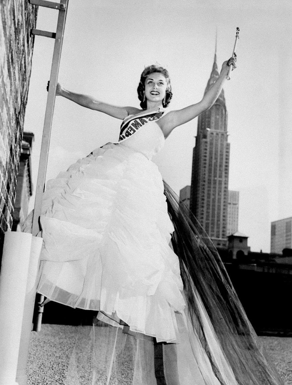 <p>Marian McKnight was South Carolina's first Miss America winner. She donned a tulle-filled dress in front of the Empire State Building.</p>