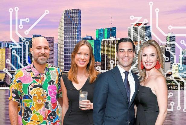Investor Chris Adamo with Annabel Harvey, and Miami mayor Francis Suarez with wife GloriaEvening Standard