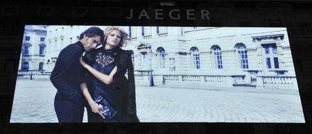 The Jaeger store logo is seen outside their store in central London