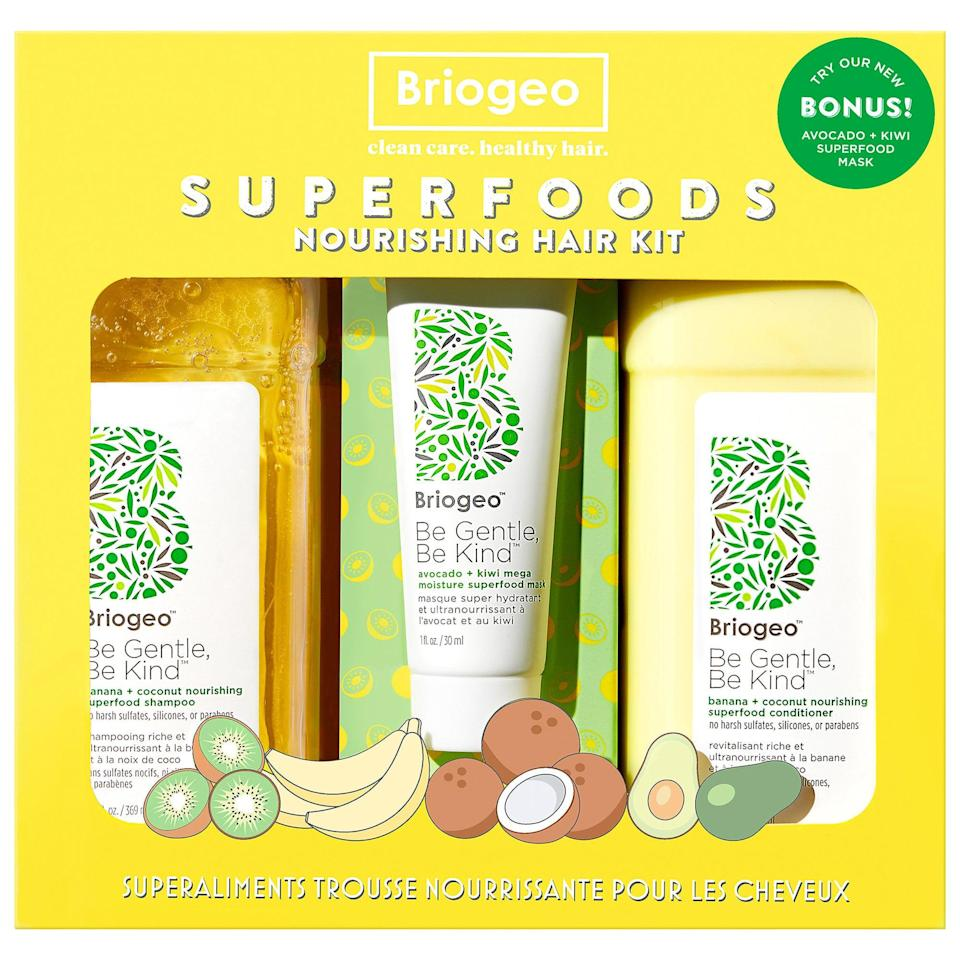 """<p>Adding this <span>Briogeo Be Gentle, Be Kind Banana + Coconut Superfoods Nourishing Hair Value Set</span> ($56) to a summer self-care routine is like treating hair to a big smoothie as the popular, fruity shampoo and conditioner are joined by the new <a href=""""https://www.popsugar.com/beauty/photo-gallery/47192552/image/47192558/Briogeo"""" class=""""link rapid-noclick-resp"""" rel=""""nofollow noopener"""" target=""""_blank"""" data-ylk=""""slk:avocado and kiwi mask"""">avocado and kiwi mask</a>.</p>"""