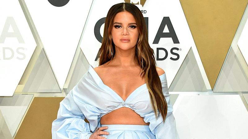 Maren Morris Shows Off Baby Bump in Blue Crop Top and Ball Skirt at 2019 CMA Awards