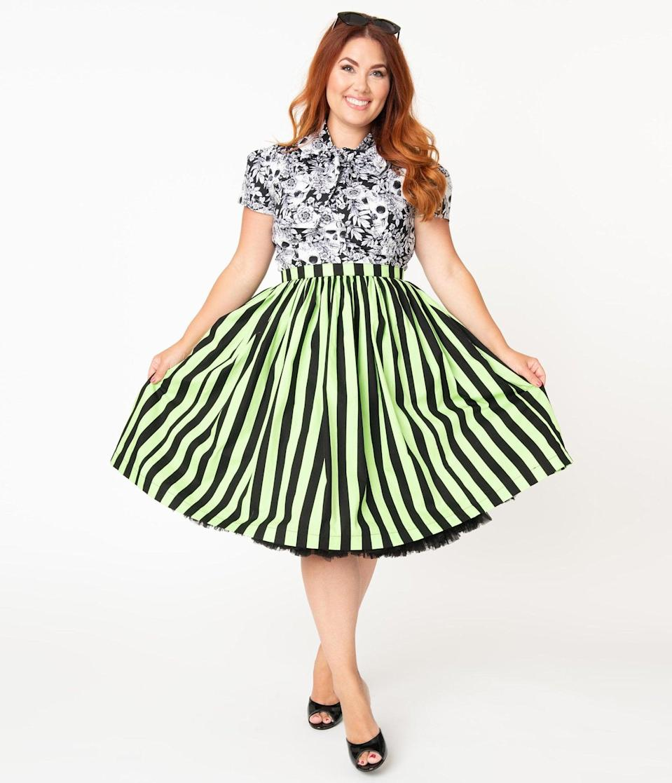 <p>Strike a pose in this <span>Plus Size Neon Green and Black Striped Gathered Cotton Swing Skirt</span> ($58). </p>