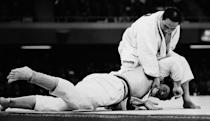 <p>Japanese Judoist Isao Inokuma wins his fight against Canada's Alfred Rogers at Budokan Hall, earning gold.</p>