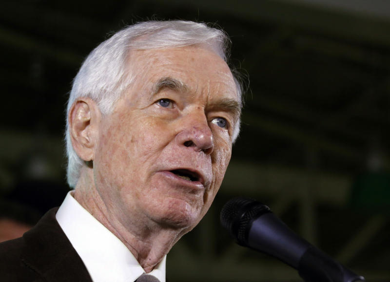 FILE - In this Tuesday, Nov. 4, 2014, file photo, Sen. Thad Cochran, R-Miss., speaks to supporters in Jackson, Miss. Republicans are already coping with a razor-thin majority as they try pushing a contentious and partisan agenda through the Senate. Now, they're running smack into another complicating factor, the sheer age and health issues of some senators. (AP Photo/Rogelio V. Solis, File)
