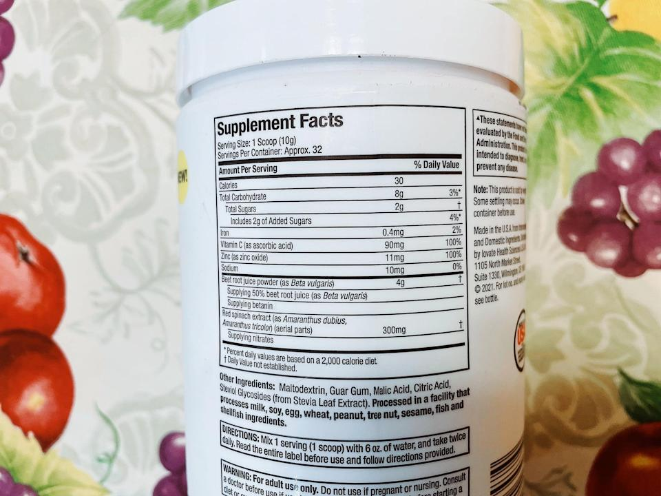 Nutrition facts for Purely Inspired Healthy Beets+ Superfood Powder