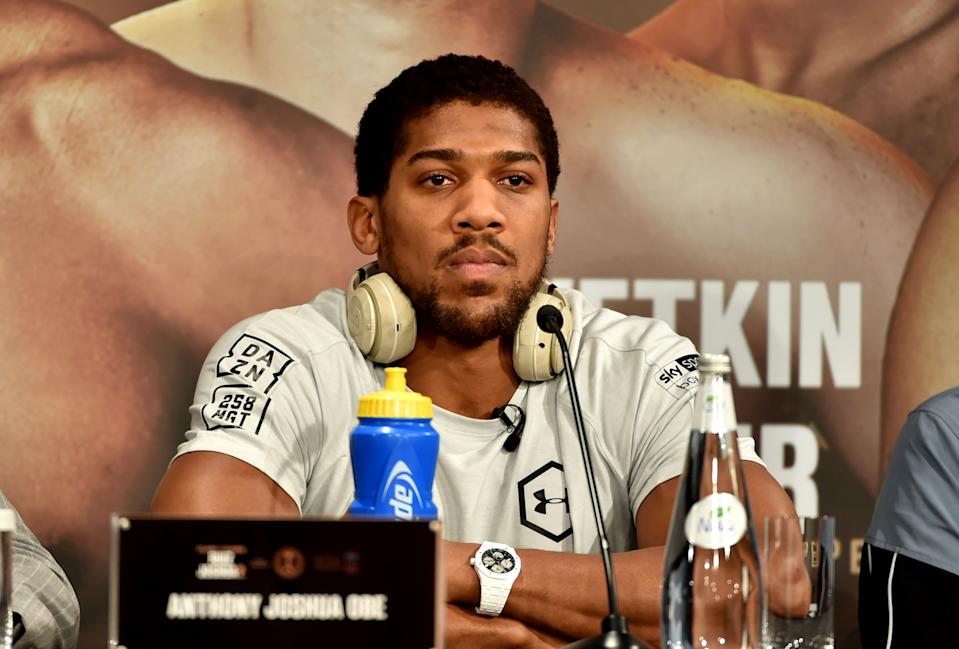 """British heavyweight boxing challenger Anthony Joshua is pictured during a press conference in Diriyah in the Saudi capital Riyadh, on December 4, 2019, ahead of the upcoming """"Clash on the Dunes"""". - The hotly-anticipated rematch between Ruiz Jr and British challenger Anthony Joshua is scheduled to take place in Diriya, near the Saudi capital on December 7. (Photo by FAYEZ NURELDINE / AFP) (Photo by FAYEZ NURELDINE/AFP via Getty Images)"""
