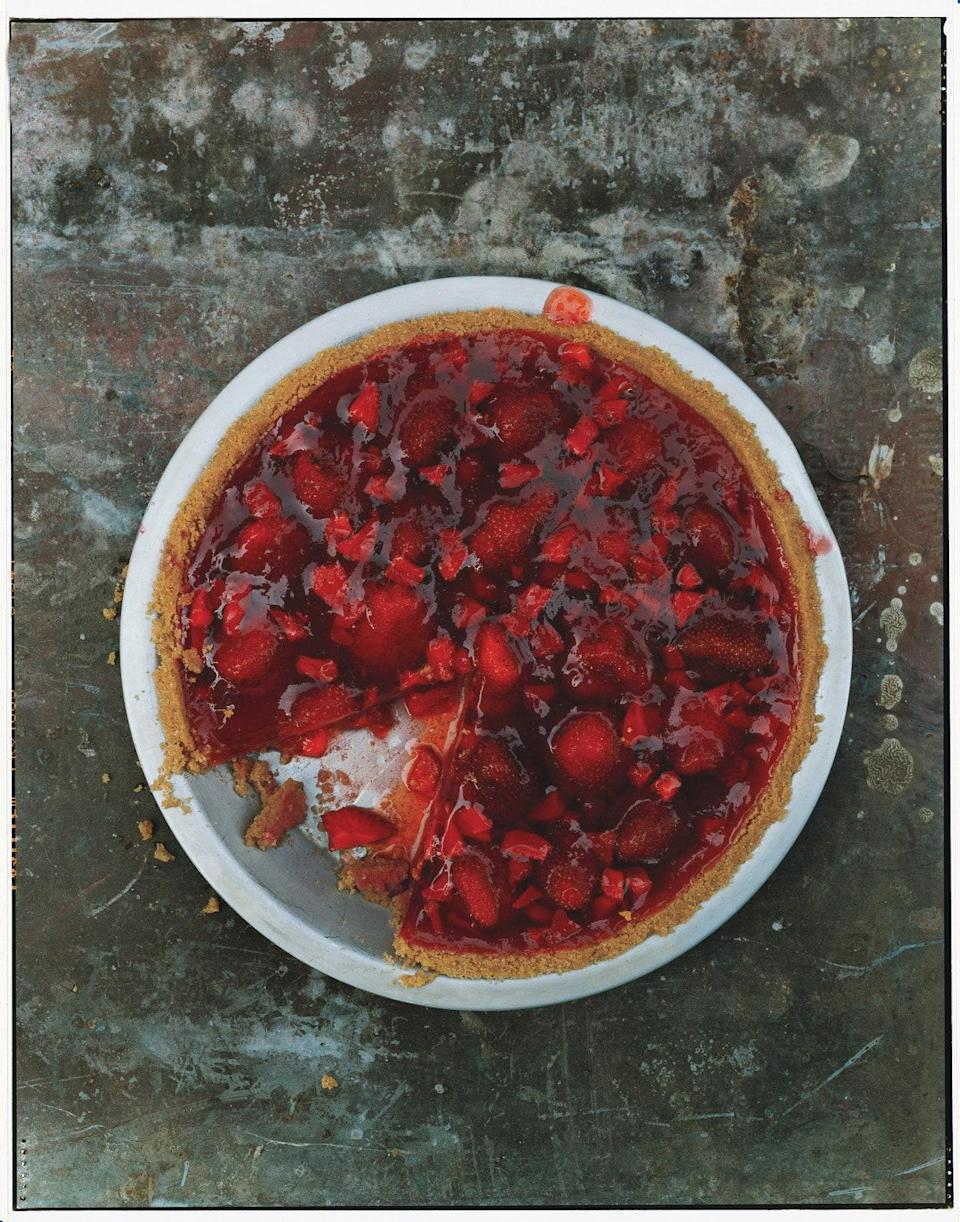 "One of the miracles here is that the gelatin will be set just enough so that you can easily cut a slice, but it's not bouncy. <a href=""https://www.epicurious.com/recipes/food/views/fresh-strawberry-pie-with-whipped-cream-242619?mbid=synd_yahoo_rss"" rel=""nofollow noopener"" target=""_blank"" data-ylk=""slk:See recipe."" class=""link rapid-noclick-resp"">See recipe.</a>"