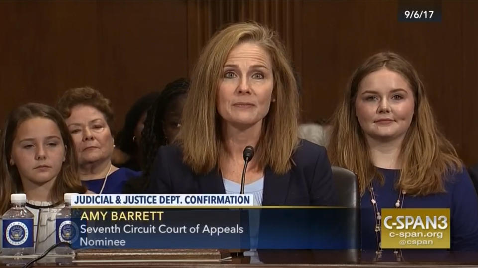 Judge Amy Coney Barrett speaks during the nomination hearing for the 7th District Court of Appeals before the Senate Judiciary Committee on September 6, 2017. (via C-Span)