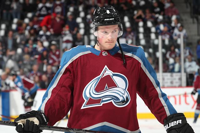 At 20 years old, Cale Makar made his professional debut with the Avalanche on April 15, 2019 by scoring his first NHL goal against the Calgary Flames late in the first period of Game 3 of Colorado's first round matchup at the Pepsi Center in Denver.