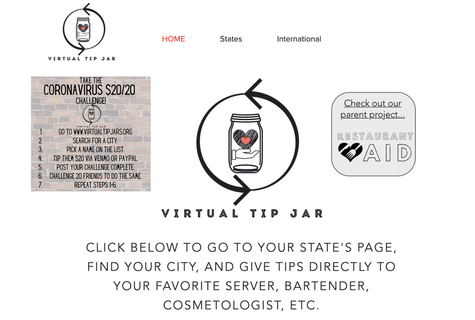 In lieu of cash donations and tips, sites like Covid Tip Jars, Virtual Tip Jars, and Service Industry Tips are online databases of hospitality workers that are accepting of donations. (Screenshot from VirtualTipJars.org)