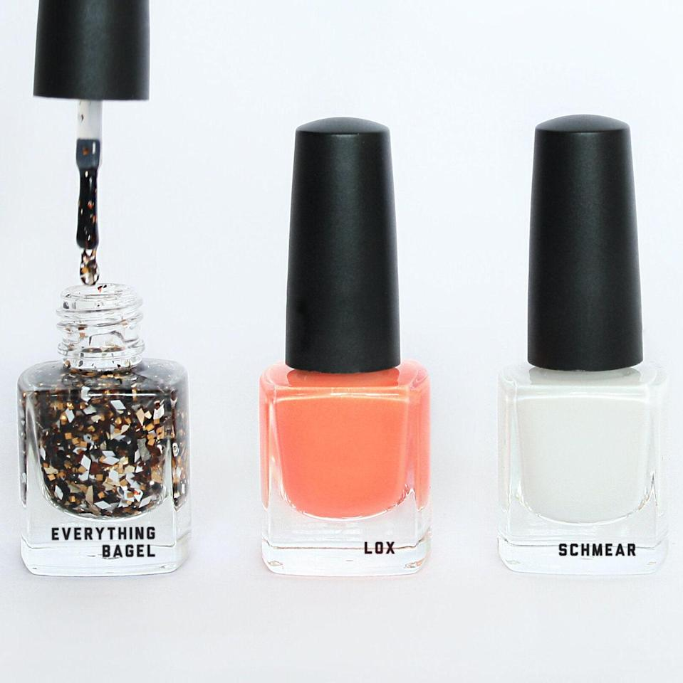 """<p>Your grandmother loves a pretty manicure. Your grandmother also loves bagels with lox. Seemingly unrelated, right? But this adorable trio of nail polishes from Unkosher Market — a collaboration with Positive Times — marries the two passions into an adorable gift set. It comes with mini bottles of three <a href=""""https://www.allure.com/gallery/best-nontoxic-5-7-9-free-nail-polishes?mbid=synd_yahoo_rss"""" rel=""""nofollow noopener"""" target=""""_blank"""" data-ylk=""""slk:10-free"""" class=""""link rapid-noclick-resp"""">10-free</a>, crystal-infused shades: the cream-cheese-white Schmear, the salmon-orange Lox, and Everything Bagel, made with glitter particles that resemble ample seasoning. And here's what may be the best part: The founder's own Bubbie Roslyn packs up all the orders. From one grandma to another!</p> <p><strong>$28</strong> (<a href=""""https://www.unkoshermarket.com/accessories/everything-bagel-lox-and-schmear-high-vibe-polish"""" rel=""""nofollow noopener"""" target=""""_blank"""" data-ylk=""""slk:Shop Now"""" class=""""link rapid-noclick-resp"""">Shop Now</a>)</p>"""