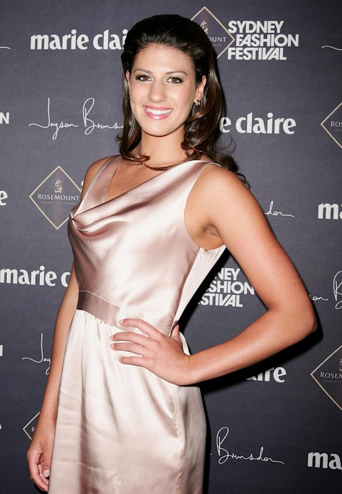 Swimmer Stephanie Rice attends the Jayson Brunsdon Gala Opening night show at Rosemount Sydney Fashion Festival 2009 at Martin Place on August 17, 2009 in Sydney, Australia.  (Photo by Gaye Gerard/Getty Images) *** Local Caption *** Stephanie Rice