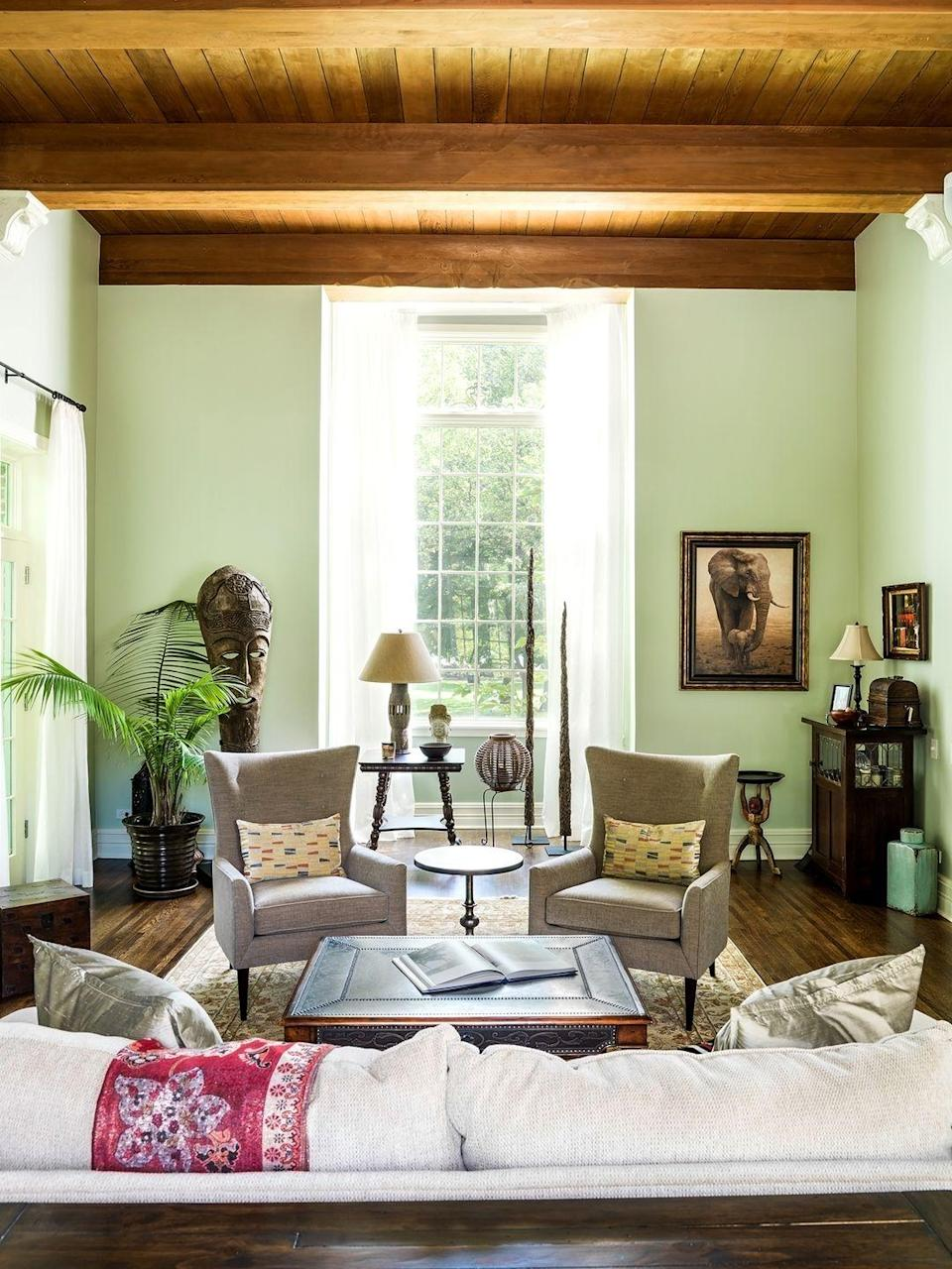 "<p>""With its soft, restful tones, seafoam green, like <a href=""https://www.benjaminmoore.com/en-us/color-overview/find-your-color/color/hc-141/hollingsworth-green"" rel=""nofollow noopener"" target=""_blank"" data-ylk=""slk:Benjamin Moore Hollingsworth Green"" class=""link rapid-noclick-resp"">Benjamin Moore Hollingsworth Green</a>, is having its moment. It brings a gauzy soft feel to living spaces, reminding us of days at the sea."" — <a href=""https://mlavenderinteriors.com/"" rel=""nofollow noopener"" target=""_blank"" data-ylk=""slk:Mark Lavender"" class=""link rapid-noclick-resp"">Mark Lavender</a> </p>"