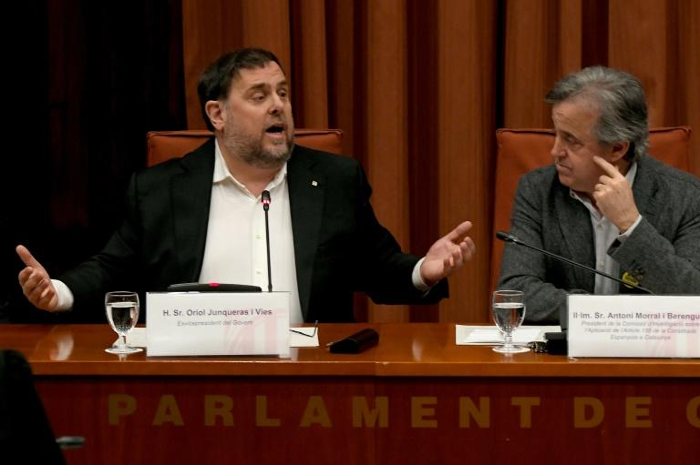 Freed for a few hours: jailed Catalan separatist Oriol Junqueras addressed the regional parliament for the first time since October 2017 (AFP Photo/LLUIS GENE)