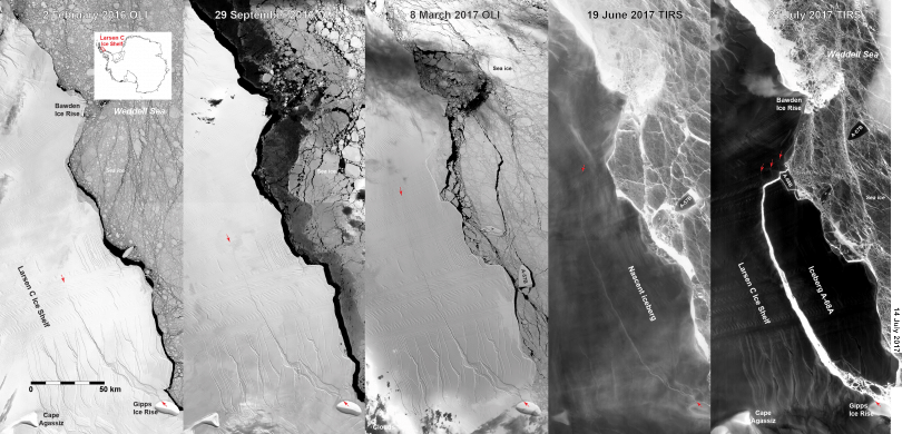 The huge iceberg that calved off Antarctica earlier this month is already breaking into smaller ice pieces that could be hazardous to sailors.