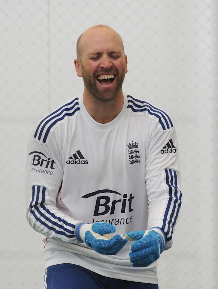 England's Matt Prior laughs during a nets session at Lords Cricket Ground, London. PRESS ASSOCATION Photo. Picture date: Tuesday May 14, 2013. See PA story CRICKET England. Photo credit should read: Anthony Devlin/PA Wire.