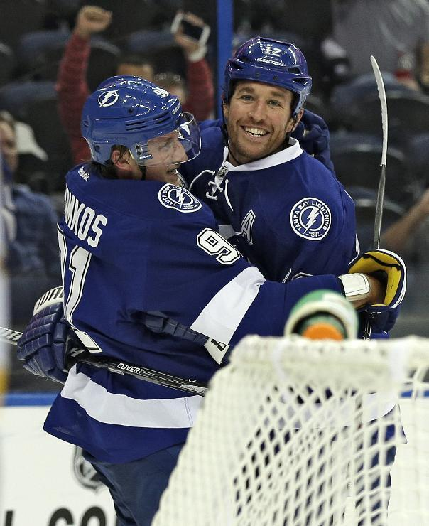 Tampa Bay Lightning center Steven Stamkos (91) celebrates with teammate left wing Ryan Malone (12) after scoring against the Nashville Predators during the second period of an NHL preseason hockey game, Thursday, Sept. 19, 2013, in Tampa, Fla. (AP Photo/Chris O'Meara)