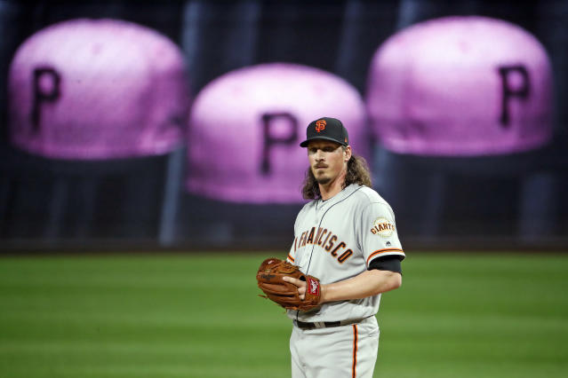 San Francisco Giants starting pitcher Jeff Samardzija collects himself on the mound after Pittsburgh Pirates' Corey Dickerson drove in a run with a single in the first inning of a baseball game in Pittsburgh, Saturday, May 12, 2018. (AP Photo/Gene J. Puskar)