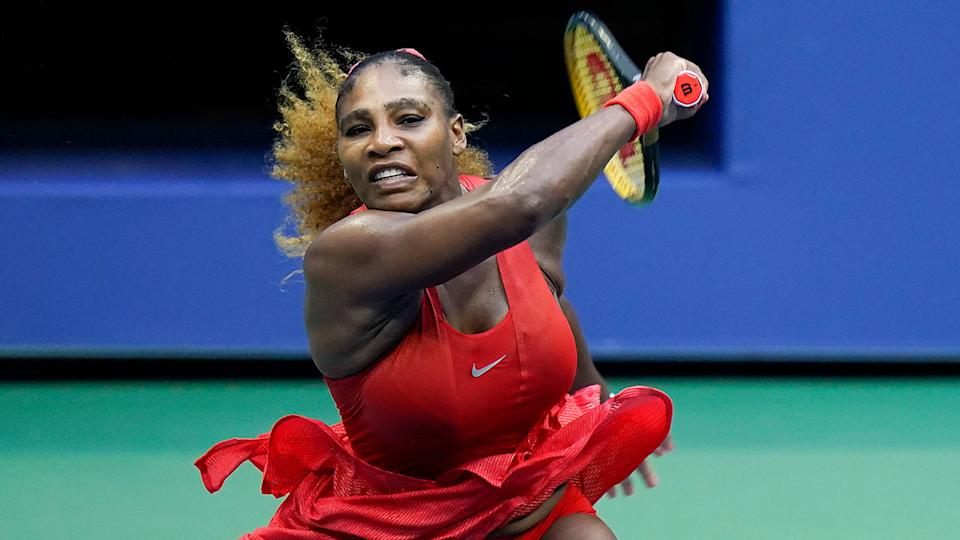 Pictured here, Serena Williams during the opening round of the US Open.