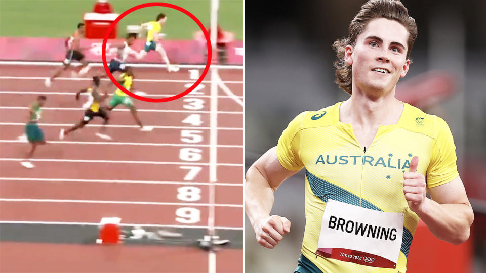Rohan Browning, pictured here winning his 100m heat at the Tokyo Olympics.