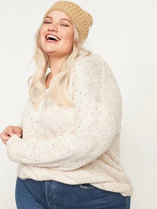 <p>This creamy, speckled <span>Old Navy Oversized Voop-Neck Sweater</span> ($35) will look so pretty with jeans when temperatures drop.</p>