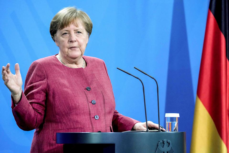 German Chancellor Angela Merkel attends a press conference in the Chancellery in Berlin, Germany, on May 21, 2021 following the virtual 'Global Health Summit'. (Photo by Michael Sohn / POOL / AFP) (Photo by MICHAEL SOHN/POOL/AFP via Getty Images)