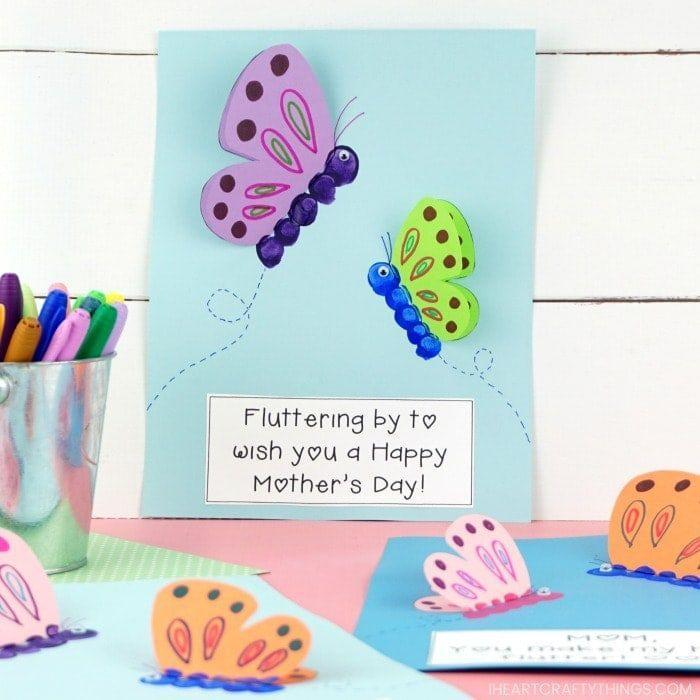 """<p>Butterflies are the perfect springtime greeting, so any mom will love this adorable crafty card.</p><p><strong>Get the tutorial at <a href=""""https://iheartcraftythings.com/mothers-day-butterfly-craft.html"""" rel=""""nofollow noopener"""" target=""""_blank"""" data-ylk=""""slk:I Heart Crafty Things"""" class=""""link rapid-noclick-resp"""">I Heart Crafty Things</a>.</strong></p><p><a class=""""link rapid-noclick-resp"""" href=""""https://go.redirectingat.com?id=74968X1596630&url=https%3A%2F%2Fwww.walmart.com%2Fsearch%2F%3Fquery%3Dacrylic%2Bpaint&sref=https%3A%2F%2Fwww.thepioneerwoman.com%2Fholidays-celebrations%2Fg35668391%2Fdiy-mothers-day-cards%2F"""" rel=""""nofollow noopener"""" target=""""_blank"""" data-ylk=""""slk:SHOP ACRYLIC PAINT"""">SHOP ACRYLIC PAINT</a></p>"""