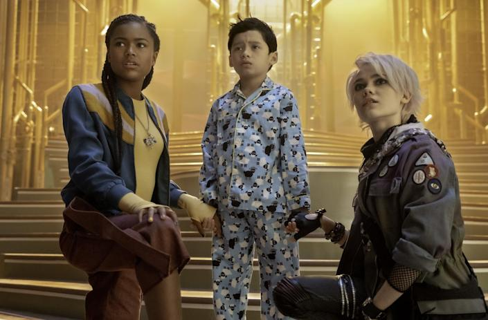 """<p><strong>Netflix's Description:</strong> """"Recruited by a secret society of babysitters, a high schooler battles the Boogeyman and his monsters when they nab the boy she's watching on <a class=""""link rapid-noclick-resp"""" href=""""https://www.popsugar.com/Halloween"""" rel=""""nofollow noopener"""" target=""""_blank"""" data-ylk=""""slk:Halloween"""">Halloween</a>.""""</p> <p><strong>Ages it's appropriate for:</strong> 8 and up</p> <p><a href=""""https://www.netflix.com/title/81012821"""" class=""""link rapid-noclick-resp"""" rel=""""nofollow noopener"""" target=""""_blank"""" data-ylk=""""slk:Stream Scaredy Cats on Netflix"""">Stream <strong>Scaredy Cats</strong> on Netflix</a> on Oct. 15!</p>"""