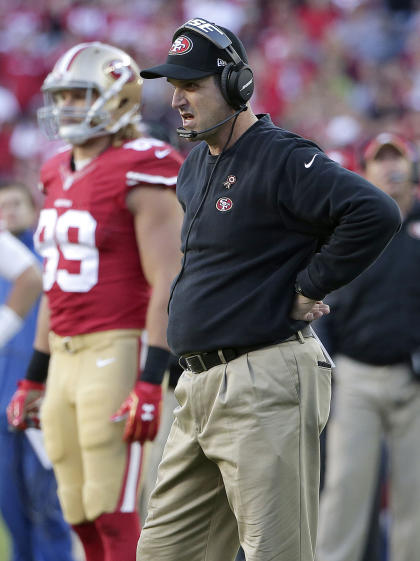 Jim Harbaugh is having a rough go of it as well as his Niners sit at 4-4. (AP)