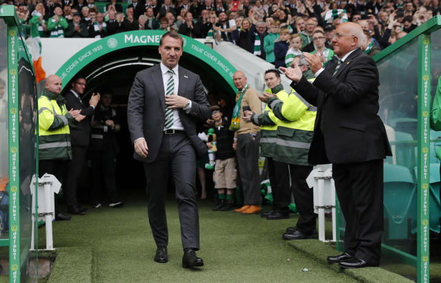 """Britain Football Soccer - Celtic v Heart of Midlothian - Scottish Premiership - Celtic Park - 21/5/17 Celtic manager Brendan Rodgers celebrates after winning the Scottish Premiership Reuters / Russell Cheyne Livepic EDITORIAL USE ONLY. No use with unauthorized audio, video, data, fixture lists, club/league logos or """"live"""" services. Online in-match use limited to 45 images, no video emulation. No use in betting, games or single club/league/player publications. Please contact your account representative for further details."""