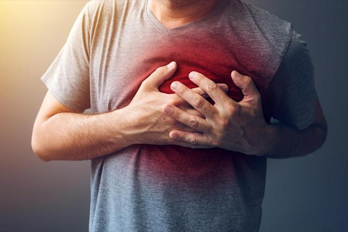 Adult male with heart attack or heart burn