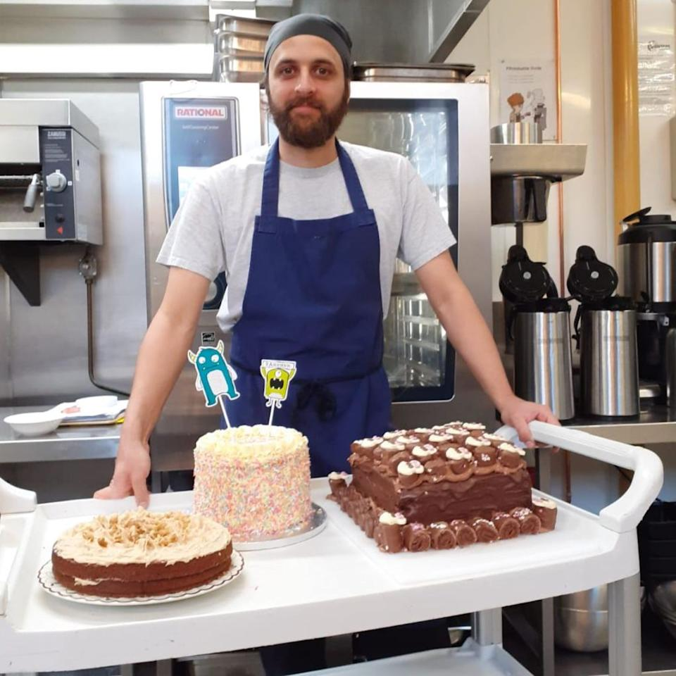 Chef Ben Limb with some of the food he has prepared for rough sleepers currently staying at the YHA Manchester Hostel (Photo: Dave Batchelor)