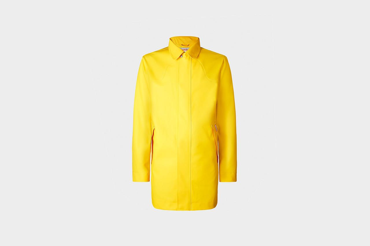 "<p>$345, buy now at <a rel=""nofollow"" href=""http://us.hunterboots.com/male-outerwear/mens-original-rubberized-raincoat/yellow/2667?mbid=synd_yahoostyle"">hunterboots.com</a></p>"