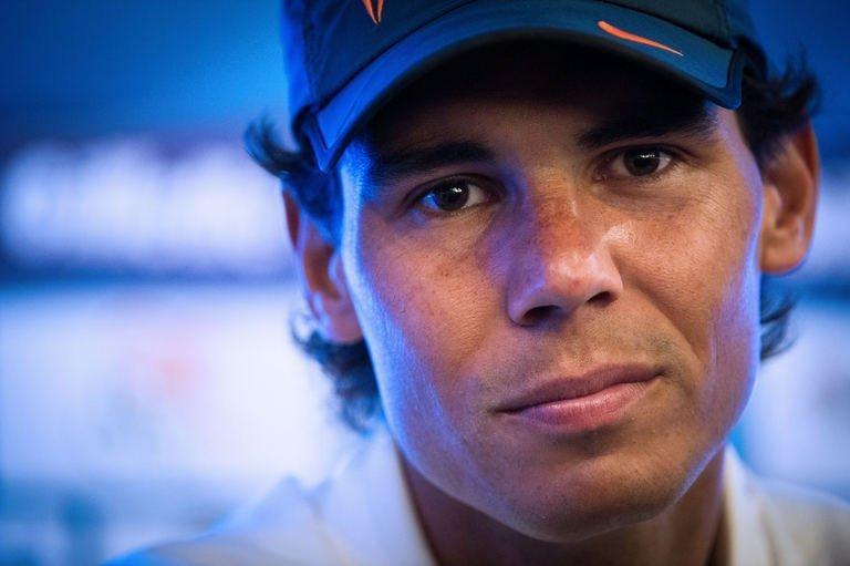Rafael Nadal gives a press conference at the Brazil Open in Sao Paulo, Brazil, on February 12, 2012