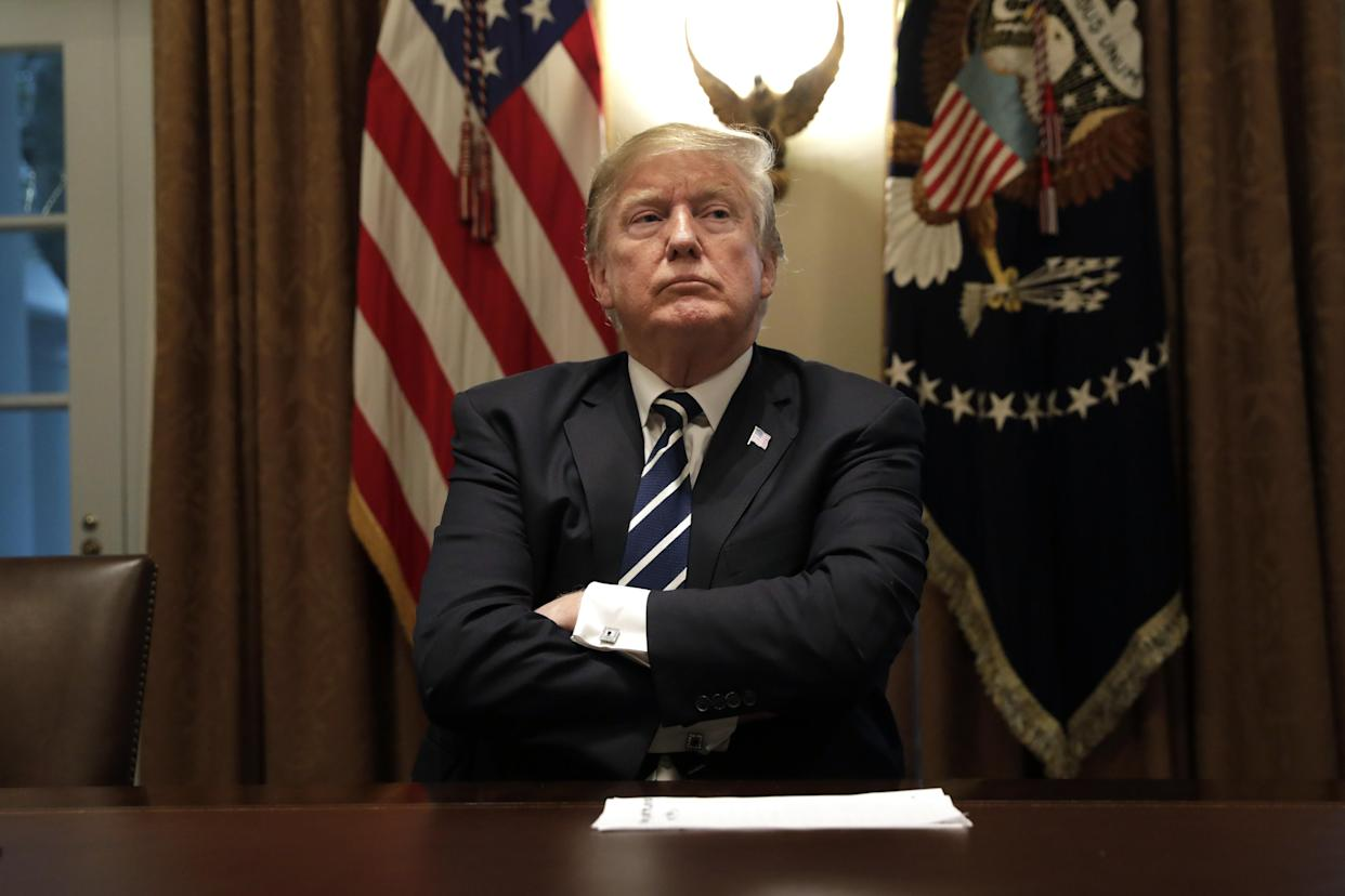 President Trump listens during a meeting with members of Congress. (Photo: Yuri Gripas/Bloomberg/Getty Images)