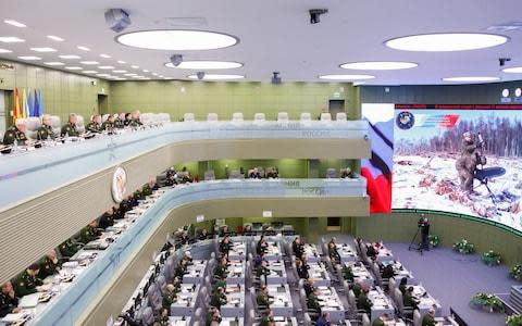 "<span>Mr Shoigu laid down the deadline for the new weapons at a meeting in the military's Moscow control centre sometimes called the ""war room""</span> <span>Credit: Olga Balashova/TASS via Getty </span>"