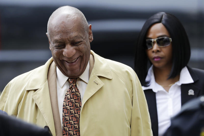 FILE - In this Monday, Feb. 27, 2017, file photo, Bill Cosby arrives for a pretrial hearing in his sexual assault case at the Montgomery County Courthouse in Norristown, Pa. The next battleground in the criminal case against Cosby will be whether prosecutors can use his lurid deposition testimony about giving pills and alcohol to a string of women before sex, material that may be disallowed at his trial since the judge ruled most of the women themselves can't testify. The case is set for trial June 5 in suburban Philadelphia. (AP Photo/Matt Slocum, File)