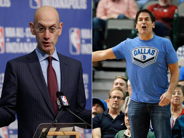 NBA Commissioner Adam Silver (L), Dallas Mavericks owner Mark Cuban. (AP/Michael Conroy, AP/Tony Gutierrez)