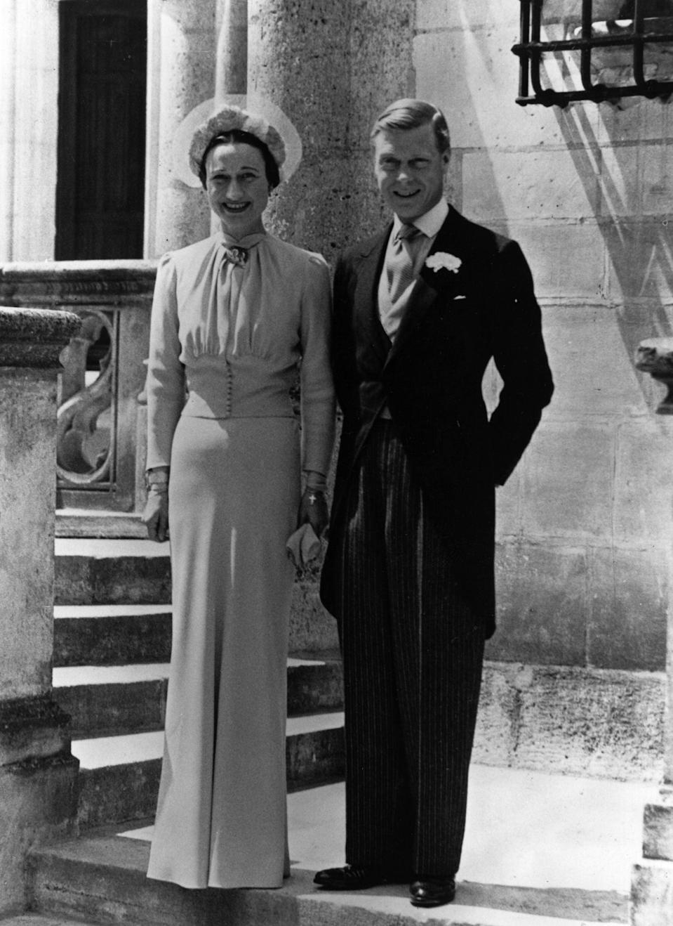 The Duke and Duchess of Windsor on their wedding day in 1937, a year after his abdication caused a constituional crisis and a life-long rift with the British royal familyGetty Images