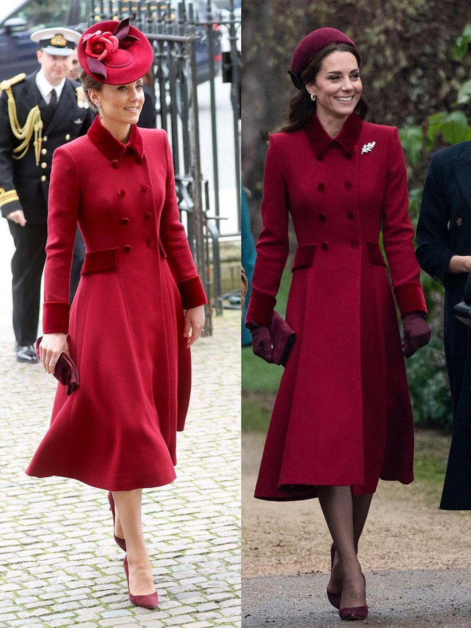 "<p>The Duchess referenced the good old days of the ""fab four"" at the 2020 Commonwealth Day Services, on Monday, March 8, by wearing a red Catherine Walker Coat with velvet detailing that she also donned at <a href=""https://www.townandcountrymag.com/style/fashion-trends/a25634345/kate-middleton-red-coat-christmas-day-photos/"" rel=""nofollow noopener"" target=""_blank"" data-ylk=""slk:Christmas Day services in 2018."" class=""link rapid-noclick-resp"">Christmas Day services in 2018.</a></p>"