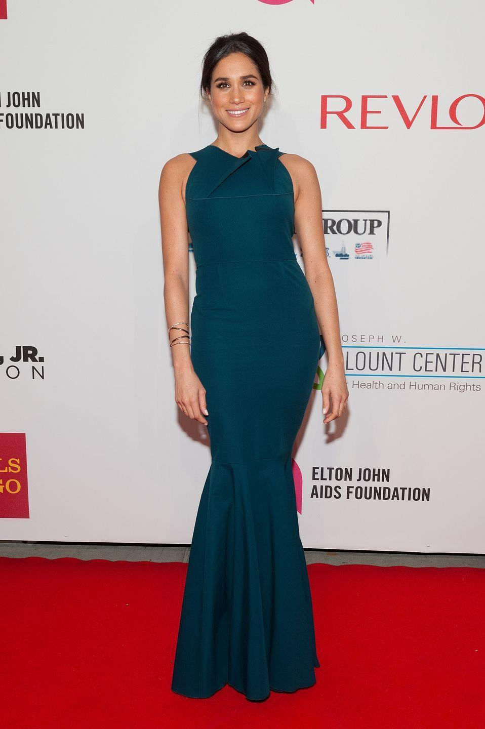 <p>And it's not just royals who love a gown moment—so do actresses, as Meghan demoed here in a fishtail dress at the Elton John AIDS Foundation's 13th Annual Benefit that same year (yep, <em>before </em>she was a royal).</p>